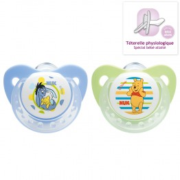 NUK 2 SUCETTES PHYSIOLOGIQUES EN SILICONE COLLECTION WINNIE 0-6 MOIS