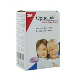 3M OPTICLUDE 20 PANSEMENTS ORTHOPTIQUES POUR ADULTES 8CM X 5.7CM
