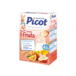 PICOT CEREALES INSTANTANEES 5 FRUITS DES 4 MOIS 200G