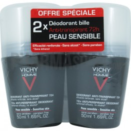 VICHY HOMME DEODORANT BILLE ANTI TRANSPIRANT CONTROLE EXTREME 72H PEAU SENSIBLE 2X50ML