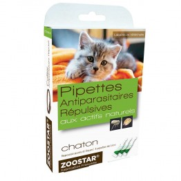 ZOOSTAR PIPETTES ANTIPARASITAIRES REPULSIVES AUX ACTIFS NATURELS CHATON 3X0.6ML