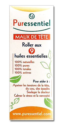 prix de puressentiel maux de t te roller 9 huiles essentielles 5 ml. Black Bedroom Furniture Sets. Home Design Ideas