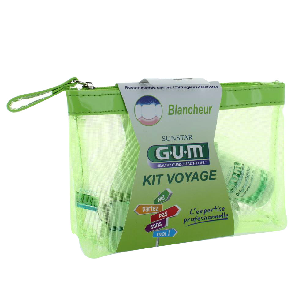 prix de gum kit voyage 39 blancheur 39 brosse dent dentifrice. Black Bedroom Furniture Sets. Home Design Ideas