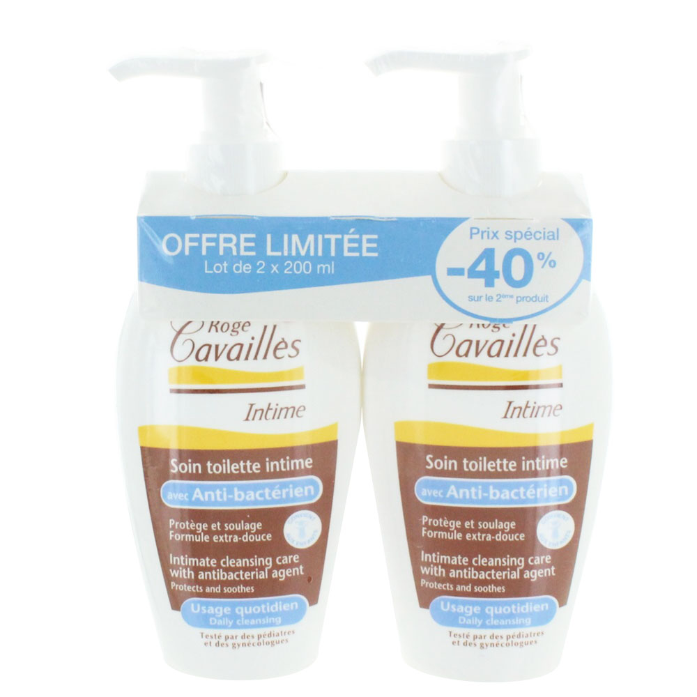 prix de roge cavailles toilette intime gel anti bacterien 2x200ml. Black Bedroom Furniture Sets. Home Design Ideas